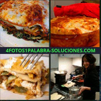 4 Fotos 1 Palabra - canelones, Pasta, Comida Italiana, Señorita cocinando de