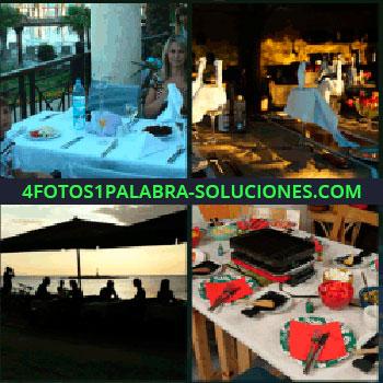 4 Fotos 1 Palabra - mesa con señorita comiendo, Siluetas de personas en la playa, Mesa con raclette puesto.