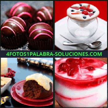 4 Fotos 1 Palabra - bombones chocolate, Mousse con frutas, Pay o tarta de chocolate, Copa de helado de nata y fresa