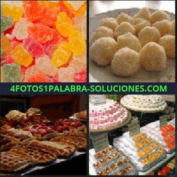 4 Fotos 1 Palabra - golosinas, Gominolas, Gofres, Pastelitos en pastelería, Bombones