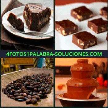 4 Fotos 1 Palabra - pastel de chocolate, Tarta, Turrón de chocolate, Cacao, Fuente de chocolate líquido.