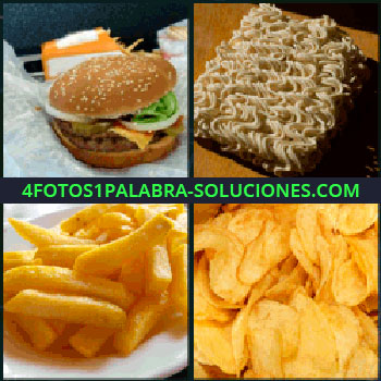 4 Fotos 1 Palabra - hamburguesa, Noodles o fideos, Patatas fritas, Papas fritas de bolsa o chips