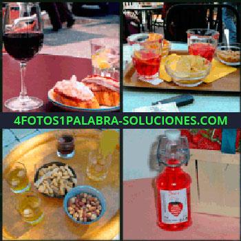 4 Fotos 1 Palabra - juego, Copa de vino con montaditos o tapas, Piscolabis, Cervecitas y frutos secos, Botella de licor de fresa