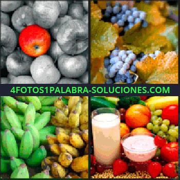 4 Fotos 1 Palabra - manzanas en gris y una roja, Racimos de uvas, Platanos o bananas verdes y amarillas o maduras, Distintas frutas leche y yogur