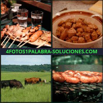 4 Fotos 1 Palabra - salchichas, Plato de comida, Vacas pastando, Barbacoa de