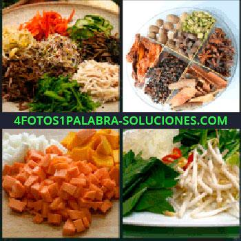 4 Fotos 1 Palabra - Verduras rayadas, Grupo de especias, Verduras cortadas a taquitos, Ensalada