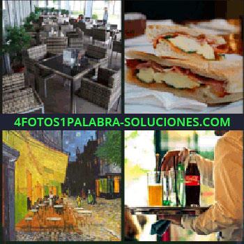 4 Fotos 1 Palabra - restaurante, Sandwich bocadillo o torta, Cuadro, Mesero o camarero con bebidas y Cocacola