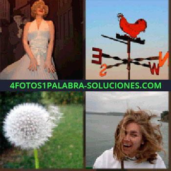 4 Fotos 1 Palabra - Diente de león, veleta gallo rojo, mujer en la playa, Marilyn Monroe museo cera