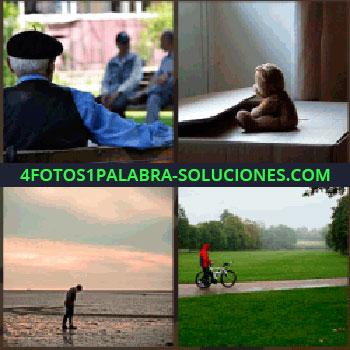 4 Fotos 1 Palabra - Hombre con boina negra sentado en un parque, osito de peluche sentado frente ventana, hombre con bici en parque