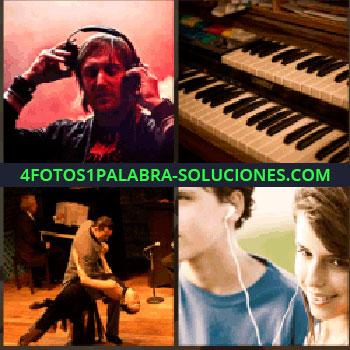 4 Fotos 1 Palabra - Piano, pareja bailando tango, pareja compartiendo auriculares, dj, hombre con cascos, David Guetta