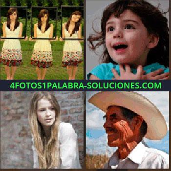 4 Fotos 1 Palabra - Niña con las manos en el pecho, mujer de pelo largo sentada junto a la pared, hombre con sombrero, trillizas