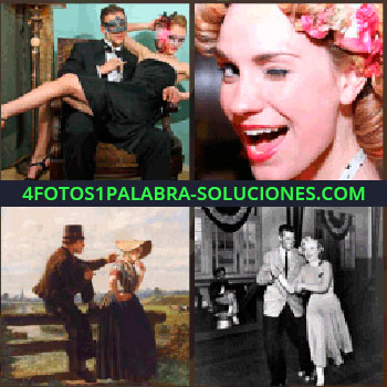 4 Fotos 1 Palabra - Pareja vestida de negro, hombre con mascara, mujer con flores en el pelo, cuadro romántico, sombrero de copa, mujer guiñando ojo