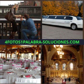 4 Fotos 1 Palabra - Hombre arrodillado declarándose a una mujer, banquete, iglesia, ceremonia, mesas redondas, restaurante, limusina blanca