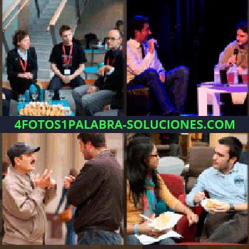 4 Fotos 1 Palabra - Entrevista, dos hombres hablando, hombre con gorra y bigote, gente sentada vestida de negro con cinta roja en el cuello, gente conversando