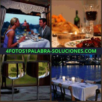 4 Fotos 1 Palabra - Pareja en restaurante. Copa de vino. copas de agua. Mesa preparada frente a lago
