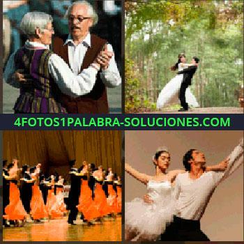 4 Fotos 1 Palabra - Pareja de novios en el bosque, bailarines de ballet clásico, baile de salón, vestidos rojos - ancianos bailando