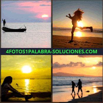 4 Fotos 1 Palabra - Silueta de un hombre en una barca, mujer saltando en la playa, mujer sentada en la orilla del mar, pareja paseando, puesta de sol playa