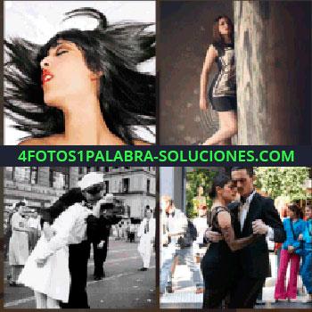 4 Fotos 1 Palabra - Modelo detrás un tronco, mujer de pelo negro con labios rojos, pareja vestida de negro bailando, marinero besando enfermera
