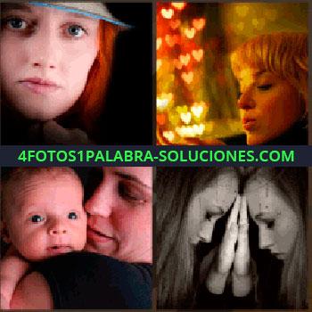 4 Fotos 1 Palabra - Mujer junto luces en forma de corazón, madre con bebé en los brazos, chica apoyada en el espejo, pelirroja con sombrero