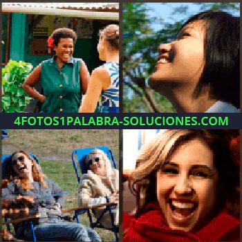 4 Fotos 1 Palabra - Dos mujeres sentadas en sillas azules riéndose, mujer vestida de rojo, chica oriental de perfil, mujer de verde ...