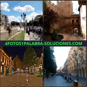 4 Fotos 1 Palabra - Gente andando por la calle, ciudad, fachadas iluminadas, plaza, portales, torre castillo