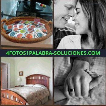 4 Fotos 1 Palabra - Cesta con preservativos de colores, foto de pareja con las frentes juntas, manos unidas, cama de matrimonio