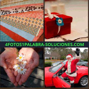 4 Fotos 1 Palabra - Papel de regalo de diferentes colores, caja roja con lazo y flor, Papá Noel con deportivo rojo, manos con margaritas