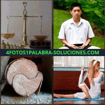 4 Fotos 1 Palabra - Hombre sentado meditando, mujer de blanco haciendo yoga, tronco balanza