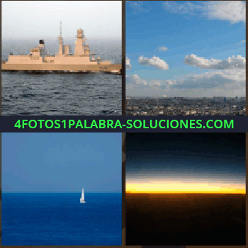 4 Fotos 1 Palabra - Ciudad a lo lejos, nubes, barco velero, océano, mar, amanecer, atardecer en el mar, barco militar