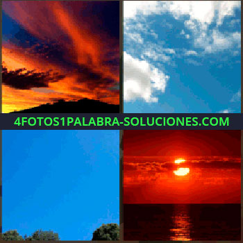 4 Fotos 1 Palabra - Nubes anaranjadas, cielo azul, puesta de sol, cielo rojo