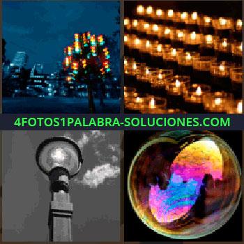 4 Fotos 1 Palabra - Luces de colores, farola en blanco y negro, burbuja con reflejos de colores, muchas velas, velas burbuja