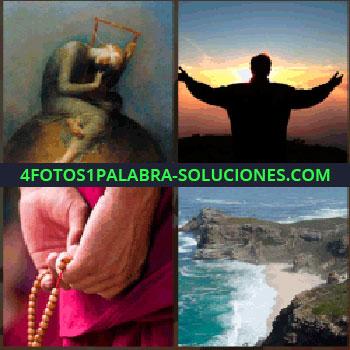 4 Fotos 1 Palabra - Cuadro de mujer en el suelo, silueta de hombre con brazos levantados mirando el sol, manos con rosario, rosario playa