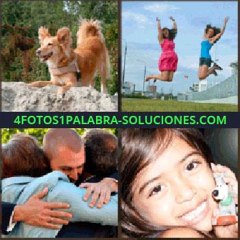 4 Fotos 1 Palabra - Perro, dos mujeres saltando, tres personas abrazándose, niña con perro de juguete
