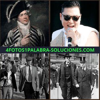 4 Fotos 1 Palabra - Hombre con sombrero, gangnam style, cantante coreano, foto antigua de dos hombres, sombrero de copa