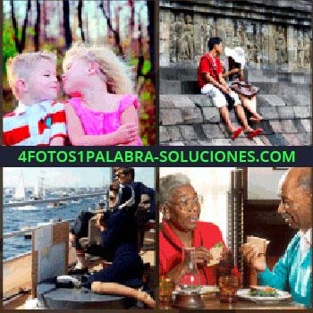 4 Fotos 1 Palabra - Pareja de negro en un barco, niños rubios, niña de rosa, pareja mayor comiendo, niños besándose