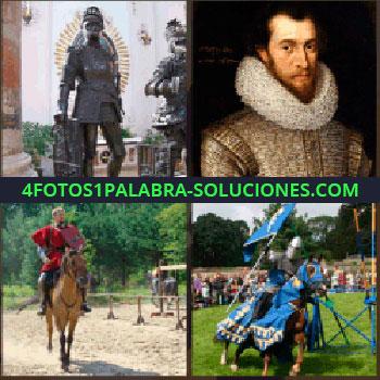 4 Fotos 1 Palabra - Estatua, hombre de rojo a caballo con un escudo, cuadro de un hombre con ropa antigua, torneo medieval, soldado medieval