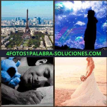 4 Fotos 1 Palabra - París, la Torre Eiffel, hombre durmiendo con muñeco azul, novia en la playa