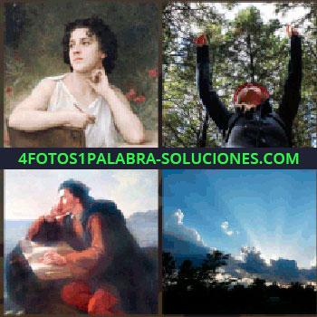 4 Fotos 1 Palabra - Cuadro de mujer de blanco, cuadro de hombre sentado con pantalón rojo, salida o puesta de sol, brazos levantados