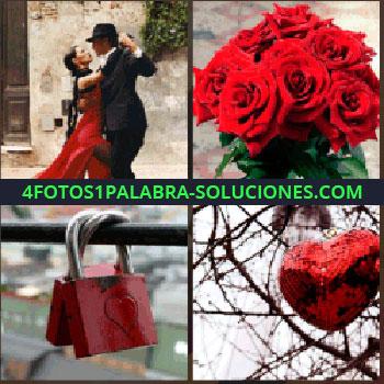 4 Fotos 1 Palabra - Ramo de rosas, pareja bailando tango, dos candados con un corazón dibujado, globo corazón