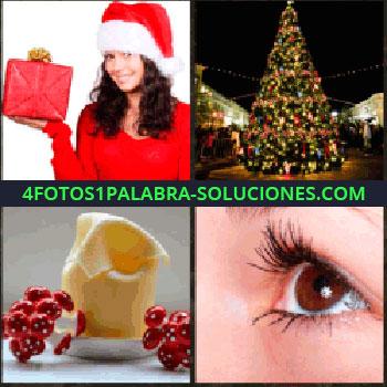 4 Fotos 1 Palabra - mujer Papa Noel con regalo en la mano. Árbol de navidad enorme. Adornos o decoración. Ojo con pestañas largas.