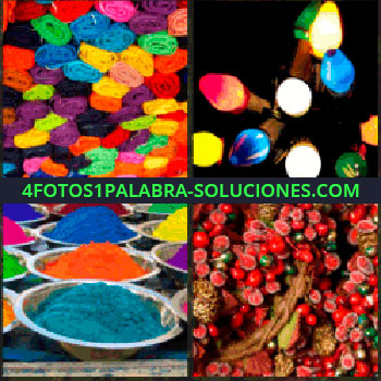 4 Fotos 1 Palabra - Telas de colores. Adornos coloridos. Polvos de colores. colores con el juego