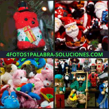 4 Fotos 1 Palabra - Osito en árbol de navidad. Muñecos de Papa Noel. Ositos de peluche. Muñecos de juguete. muñecos