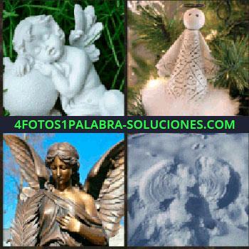 4 Fotos 1 Palabra - Estatua de escayola o yeso. Muñeco junto a pino. Estatua de bronce. estatua