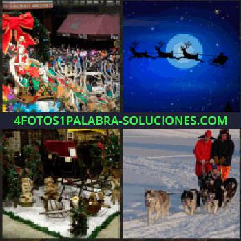 4 Fotos 1 Palabra - navidad. Reno y Santa Claus volando. Carro de navidad. Perros tirando de trineo. entra