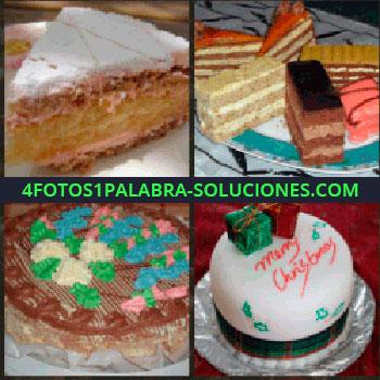 4 Fotos 1 Palabra - pasteles. Bizcochos. Hojaldres. Pan de dulce. Tartas