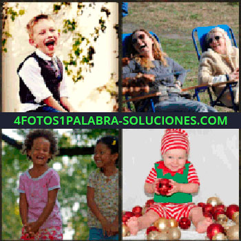 4 Fotos 1 Palabra - Niño feliz. 2 mujeres sentadas en sillas azules. Dos niñas riendo. Bebe con bolas de navidad. niños felices