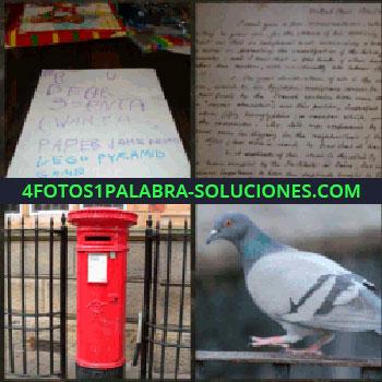 4 Fotos 1 Palabra - Nota. Folio escrito a mano. Buzón rojo. Paloma. buzón paloma