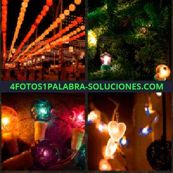 4 Fotos 1 Palabra - luces de colores. Focos. Adornos iluminados. Bombillas de colores: