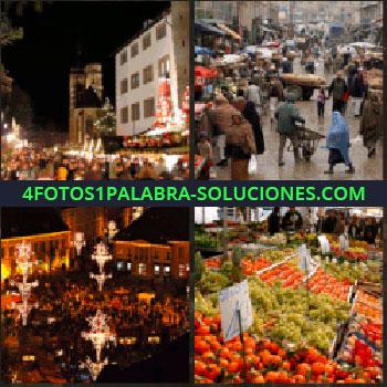 4 Fotos 1 Palabra - Calle ciudad. puestos venta. Tianguis. Frutería