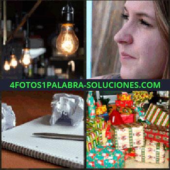 4 Fotos 1 Palabra - bombillas iluminadas. Cara señorita. Libreta hojas y pluma o bolígrafo. Cajas de regalos